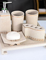 Bathroom Accessory Set of 6 Objects Resin /Contemporary