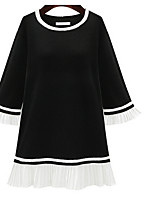 Women's Going out Casual/Daily A Line Loose Dress,Solid Round Neck Above Knee Long Sleeve Polyester Spring Mid Rise Micro-elastic Medium