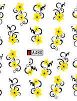 10pcs/set Fashion Summer Flower Nail Art Water Transfer Decals Beautiful Yellow Flower Vine Design Nail Art DIY Sticker A480
