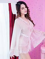 Feminino Lingerie com Renda Cetim & Renda Super Sensual Uniforme e Cheongsams Roupa de Noite Cor Única,Fino Veludo Mulheres