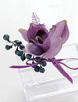 Bouquets de Noiva Forma-Livre Lírios Lavanda Alfinetes de Lapela Casamento Festa / noite Cetim