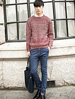 Herren Standard Pullover-Ausgehen Lässig/Alltäglich Einfach Solide Rundhalsausschnitt Langarm Baumwolle Herbst Winter Mittel