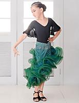 Latin Dance Outfits Kid's Performance Chinlon Spandex Crystals/Rhinestones Flower(s) Ruffles 2 Pieces Half Sleeve Natural Skirt Leotard