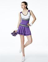 Fantasias para Cheerleader Vestidos Mulheres Actuação Modal Bloco de Cor 1 Peça Sem Mangas Vestido
