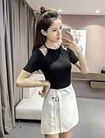 Tee-shirt Femme,Couleur Pleine Décontracté / Quotidien simple Eté Manches Courtes Licou Coton Polyester Moyen