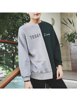 Men's Casual/Daily Sweatshirt Letter Color Block Round Neck Micro-elastic Cotton Long Sleeve Spring