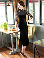 Women's Going out Casual/Daily Party Sexy Bodycon Dress,Solid Stand Asymmetrical ½ Length Sleeve Polyester Spring Summer Mid Rise
