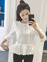 Women's Casual/Daily Work Vintage Street chic Summer T-shirt,Solid Round Neck ¾ Sleeve Nylon Medium