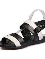Sandals Spring Summer Fall Slingback PU Office & Career Party & Evening Dress Flat Heel Buckle Black Yellow
