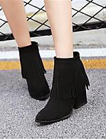 Damen-Stiefel-Lässig-PU-Blockabsatz-Komfort-Schwarz