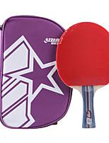 2 étoiles Tennis de table Raquettes Ping Pang Bois Long Manche Boutons Intérieur Utilisation Exercice Sport de détente-#