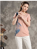 Bamboo summer new literary hit color printing round neck short sleeve T-shirt female 8520220090