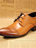 Коричневый-Для мужчин-Для офиса Повседневный-КожаУдобная обувь-Туфли на шнуровке