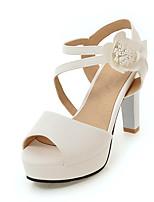 Sandals Spring Summer Fall Slingback PU Office & Career Party & Evening Dress Chunky Heel Flower Black Blue Pink White Beige