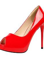 Серебряный Лиловый Красный Миндальный Телесный-Для женщин-Для праздника-Кожа-На шпильке-Удобная обувь-Обувь на каблуках