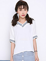 Sign summer new Korean version was thin chiffon v-neck loose short-sleeved t-shirt tide large size women students