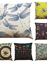Set of 6 Creative Insects Pattern  Linen Pillowcase Sofa Home Decor Cushion Cover  Throw Pillow Case (18*18inch)