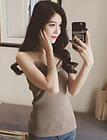 Women New Korean Slim vertical stripes knit shirt was thin minimalist fine sexy camisole