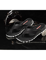 Men's Slippers & Flip-Flops Spring Comfort Cowhide Casual Flat Heel Black Red Blue