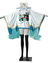 Inspired by Overwatch D.Va Video Game Cosplay Costumes Cosplay Suits Kimono Color Block Jacquard White Blue GreenKimono Coat Yukata Skirt