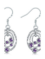 Elegant Silver Plated Amethyst Purple Crystal Hollow Circle  Drop Earrings for Wedding Party Women Accessiories