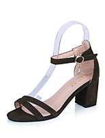Women's Sandals Summer T-Strap Fleece Outdoor Dress Casual Chunky Heel Block Heel Buckle Black Gray Green Walking