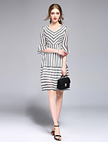 DFFDWomen's Going out Casual/Daily Holiday Simple Street chic A Line DressStriped V Neck Above Knee  Length Sleeve Polyester SummerHigh