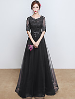 Formal Evening Dress A-line Jewel Floor-length Lace Tulle with Lace Sash / Ribbon