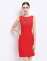 Women's Going out Sexy Sophisticated Sheath Dress,Embroidered Round Neck Above Knee Sleeveless Cotton Polyester Summer Mid Rise Inelastic