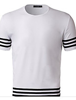 Men's Holiday Active T-shirt,Solid Check Round Neck Short Sleeve Cotton