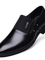 Черный Коричневый-Для мужчин-Повседневный-Полиуретан-На плоской подошве-Удобная обувь-Туфли на шнуровке
