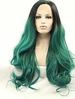 sylvia laço sintético frente peruca de cabelo ombre verde preto resistente ao calor de onda longa naturais perucas sintéticas