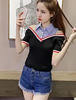 Women's Casual/Daily Formal Cute Street chic Spring Summer T-shirt,Striped Shirt Collar Short Sleeve Spandex Medium