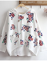 Women's Casual/Daily Hoodie Print Round Neck Inelastic Cotton Long Sleeve Spring Fall