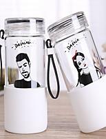 Desenho Exterior Artigos para Bebida, 350 ml Portátil Vidro Água Garrafas de Água