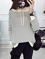 Women's Going out Casual/Daily Simple Regular Pullover,Solid Striped Crew Neck Long Sleeve Rayon Polyester Spring Fall Medium
