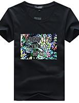 Tee-shirt Homme,Imprimé Sortie Décontracté / Quotidien Grandes Tailles simple Actif Eté Manches Courtes Col Arrondi Coton Acrylique Moyen
