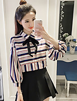 Women's Casual/Daily Simple Cute Spring Fall Blouse,Striped Round Neck Long Sleeve Cotton Polyester Medium