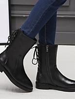 Feminino-Botas-Chanel-Salto Baixo Salto Grosso Salto de bloco--Couro Ecológico-Casual
