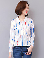 Women's Casual/Daily Simple Blouse,Solid Shirt Collar Long Sleeve Nylon Thin
