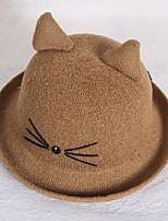 Women 's Summer Dome Curling Cat Print Ear Basin Cap Fisherman Beach Straw Hat