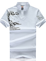 The new summer 2017 men's short sleeve T-shirt printing collar short-sleeve T-shirt tide big yards Tide brand compassionate