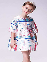 Girl's Print Dress,Rayon Spring Fall ½ Length Sleeve