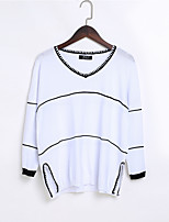 Women's Casual/Daily Simple Regular Pullover,Solid V Neck ¾ Sleeve Nylon Spring Summer Thin Micro-elastic