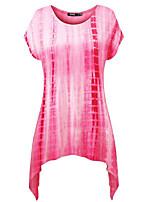 Для женщин На выход На каждый день Праздник Лето Футболка Круглый вырез,Простое Уличный стиль Однотонный С короткими рукавами,Полиэстер