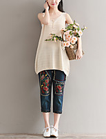 Women's Casual/Daily Regular Vest,Solid Round Neck Sleeveless Cotton Summer Thin Micro-elastic