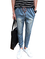 Men's Mid Rise Micro-elastic Jeans PantsSimple Harem Solid ACD-A131