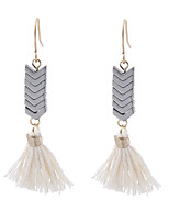 Lureme Vintage Ethnic Grey Geometric Handcrafted White Tassel Drop Dangle Earrings