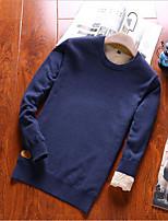 Herren Standard Pullover-Lässig/Alltäglich Geometrisch Rundhalsausschnitt Langarm Baumwolle Winter Dick Mikro-elastisch