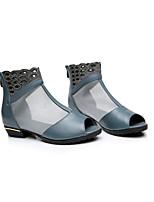 Черный Серый-Для женщин-Для прогулок Повседневный-Кожа-На низком каблуке-Удобная обувь-Ботинки